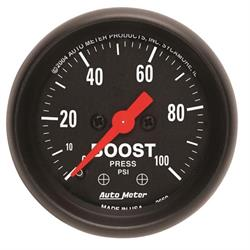Auto Meter 2618 Z-Series Mechanical Boost Gauge, 100 PSI, 2-1/16 Inch