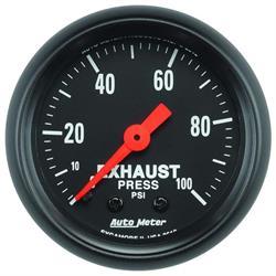 Auto Meter 2619 Z-Series Mech Exhaust Pressure Gauge, 100 PSI, 2-1/16