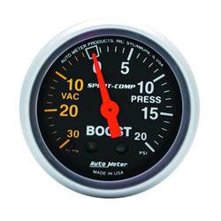 Auto Meter 3301 Sport-Comp Mechanical Boost/Vacuum Gauge, 2-1/16 Inch