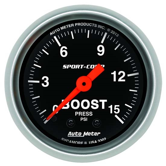 AutoMeter 3302 Sport-Comp Mechanical Boost Gauge, 15 PSI, 2-1/16
