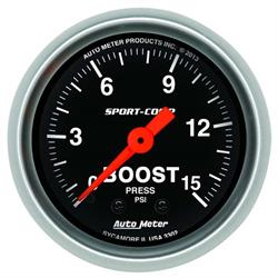Auto Meter 3302 Sport-Comp Mechanical Boost Gauge, 15 PSI, 2-1/16 Inch