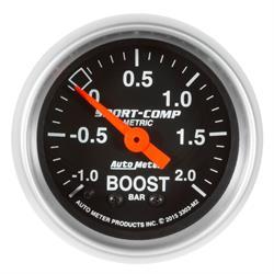 Auto Meter 3303-M2 Sport-Comp Boost/Vacuum Gauge, 2-1/16, -1-+2 BAR,