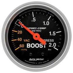 Auto Meter 3303-M Sport-Comp Mechanical Boost/Vacuum Gauge