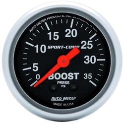 Auto Meter 3304 Sport-Comp Mechanical Boost Gauge, 35 PSI, 2-1/16 Inch