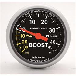 Auto Meter 3308 Sport-Comp Mechanical Boost/Vacuum Gauge, 2-1/16 Inch