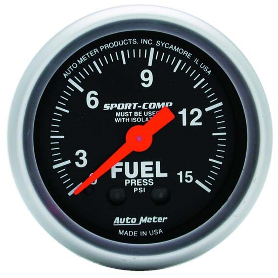 Auto Meter 3313 Sport-Comp Mechanical Fuel Pressure w/ Isolator Gauge