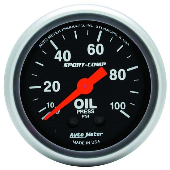 Auto Meter 3321 Sport-Comp Mechanical Oil Pressure Gauge, 100 PSI