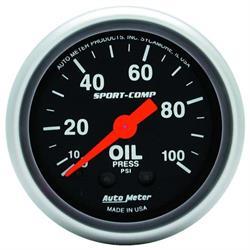 Auto Meter 3321 Sport-Comp Mechanical Oil Pressure Gauge, 100 PSI
