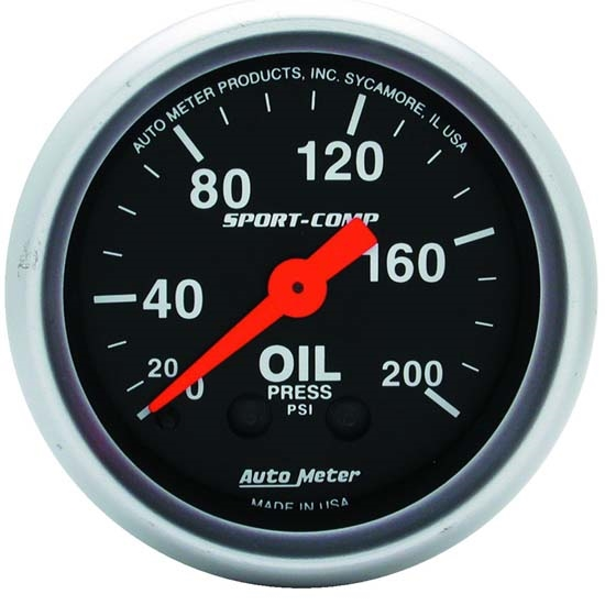 Auto Meter 3322 Sport-Comp Mechanical Oil Pressure Gauge, 200 PSI
