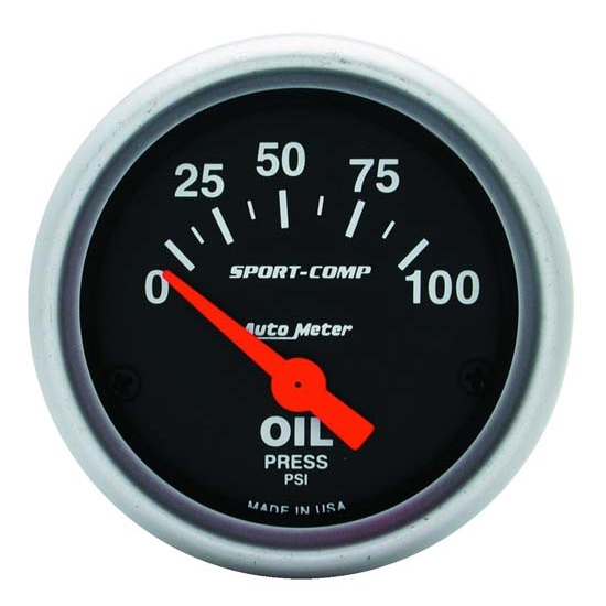 Auto Meter 3327 Sport-Comp Air-Core Oil Pressure Gauge, 100 PSI