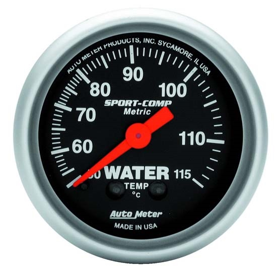 Auto Meter 3332-M Sport-Comp Mechanical Water Temperature Gauge