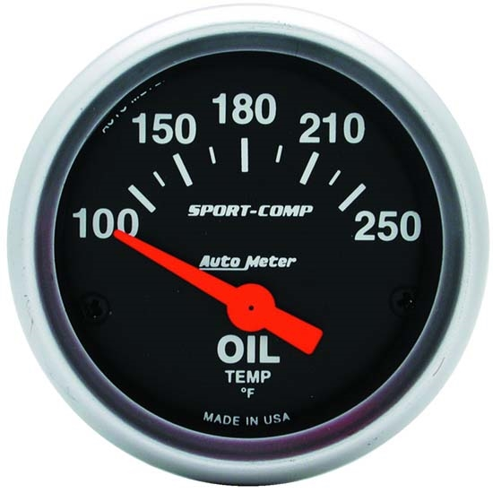 Auto Meter 3347 Sport-Comp Air-Core Oil Temperature Gauge, 2-1/16 Inch