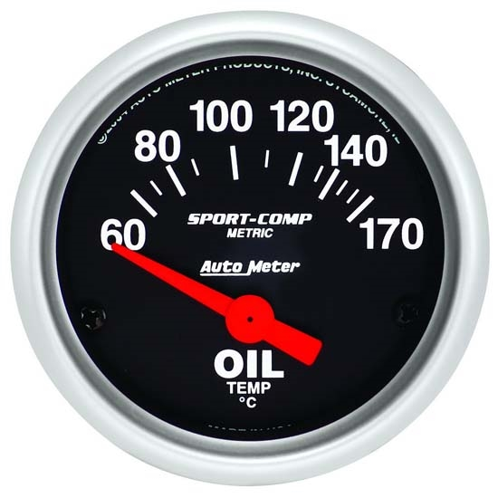Auto Meter 3348-M Sport-Comp Air-Core Oil Temperature Gauge