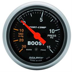 Auto Meter 3376 Sport-Comp Digital Stepper Motor Boost/Vacuum Gauge