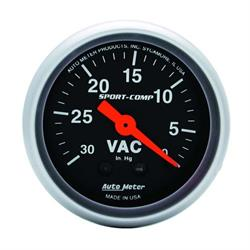 Auto Meter 3384 Sport-Comp Mechanical Vacuum Gauge, 2-1/16 Inch