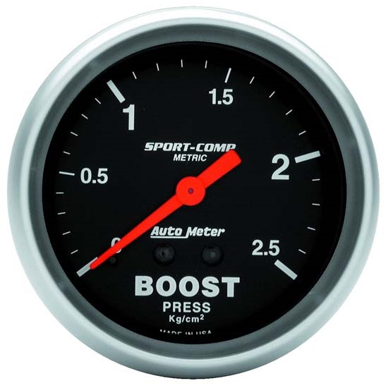 Auto Meter 3404-J Sport-Comp Mechanical Boost Gauge, 2-5/8 Inch
