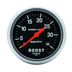 AutoMeter 3404 Sport-Comp Mechanical Boost Gauge, 35 PSI, 2-5/8