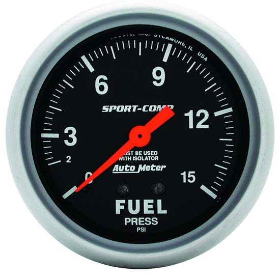 Auto Meter 3413 Sport-Comp Mechanical Fuel Pressure w/ Isolator Gauge