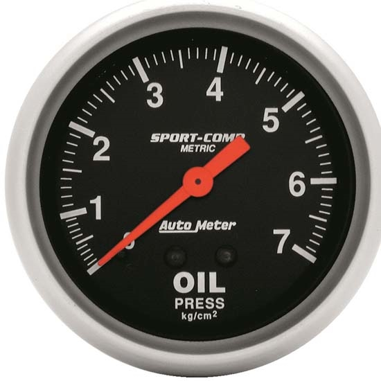 Auto Meter 3421-J Sport-Comp Mechanical Oil Pressure Gauge, 2-5/8 Inch