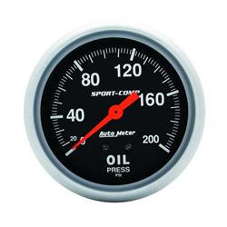 Auto Meter 3422 Sport-Comp Mechanical Oil Pressure Gauge, 200 PSI