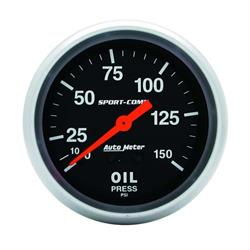 Auto Meter 3423 Sport-Comp Mechanical Oil Pressure Gauge, 150 PSI