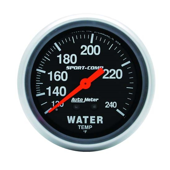 Auto Meter 3433 Sport-Comp Mechanical Water Temperature Gauge