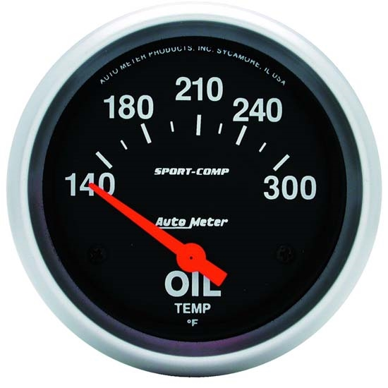 Auto Meter 3543 Sport-Comp Air-Core Oil Temperature Gauge, 2-5/8 Inch