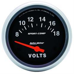 Auto Meter 3592 Sport-Comp Air-Core Voltmeter Gauge, 2-5/8 Inch