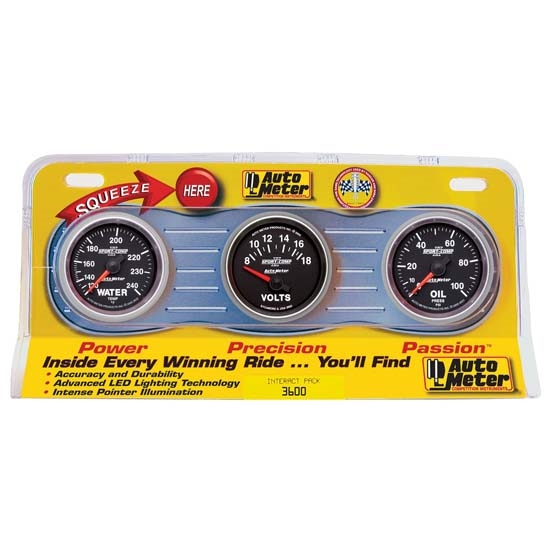 Auto Meter 3600 Sport-Comp II Interact Pack Mechanical Gauge Set