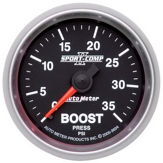 Auto Meter 3604 Sport-Comp II Mechanical Boost Gauge, 35 PSI, 2-1/16