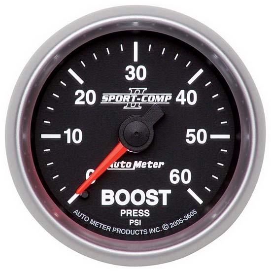 Auto Meter 3605 Sport-Comp II Mechanical Boost Gauge, 60 PSI, 2-1/16