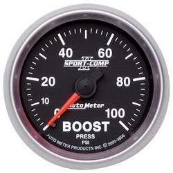 Auto Meter 3606 Sport-Comp II Mechanical Boost Gauge, 100 PSI, 2-1/16