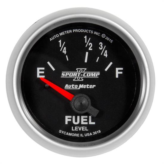 Auto Meter 3618 Sport-Comp II Fuel Level Gauge, 2-1/16, 16/158 Ohm, Flat