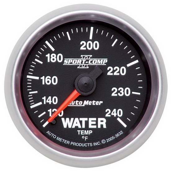 Auto Meter 3632 Sport-Comp II Mechanical Water Temperature Gauge