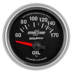 Auto Meter 3648-M Sport-Comp II Oil Temp Gauge, 2-1/16, 60-170 Deg.