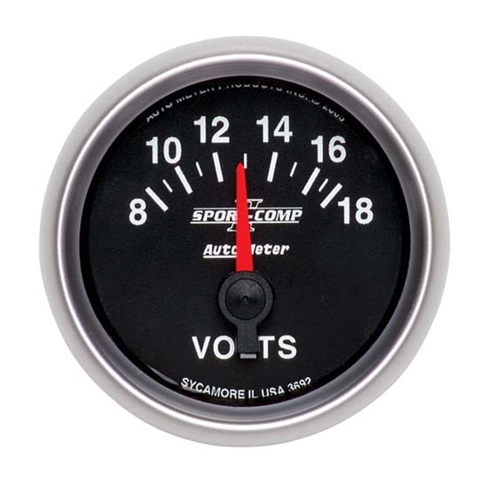 AutoMeter 3692 Sport-Comp II Air-Core Voltmeter Gauge,2-1/16 Inch
