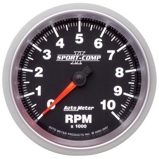 Auto Meter 3697 Sport-Comp II Air-Core In-Dash Tach, 10k RPM, 3-3/8