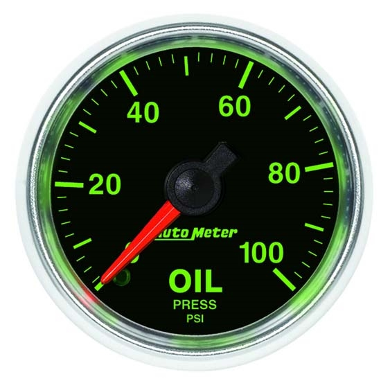 Auto Meter 3821 GS Mechanical Oil Pressure Gauge, 2-1/16 Inch