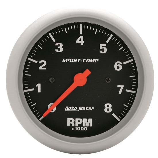Auto Meter 3991 Sport-Comp Air-Core In-Dash Tach, 8k RPM, 3-3/8 Inch