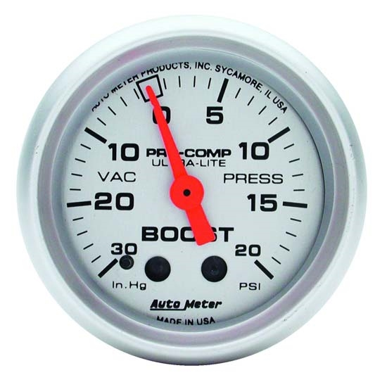 Auto Meter 4301 Ultra-Lite Mechanical Boost/Vacuum Gauge, 2-1/16 Inch