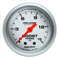 Auto Meter 4302 Ultra-Lite Mechanical Boost Gauge, 15 PSI, 2-1/16 Inch