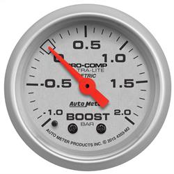 Auto Meter 4303-M2 Ultra-Lite Boost/Vacuum Gauge, 2-1/16, -1-+2 BAR,