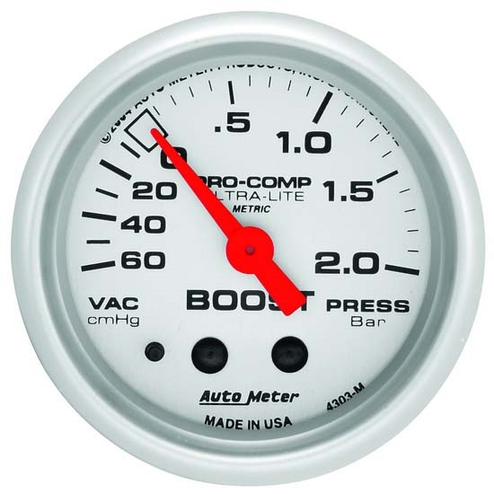 Auto Meter 4303-M Ultra-Lite Mechanical Boost/Vacuum Gauge, 2-1/16 In.