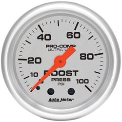 Auto Meter 4306 Ultra-Lite Mechanical Boost Gauge, 100 PSI, 2-1/16 In.