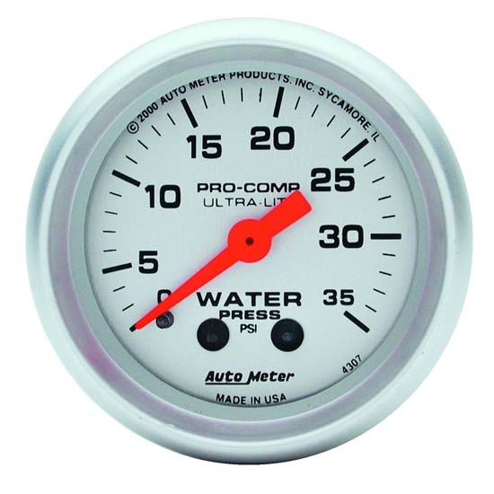 Autometer 4368 Ultra Lite Electric Water Pressure Gauge: Auto Meter 4307 Ultra-Lite Mech Water Pressure Gauge, 35