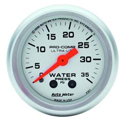 Auto Meter 4307 Ultra-Lite Mech Water Pressure Gauge, 35 PSI, 2-1/16