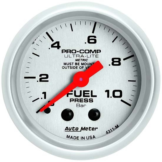 Auto Meter 4311-M Ultra-Lite Mechanical Fuel Pressure Gauge, 2-1/16