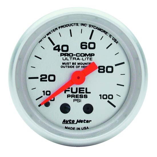 Auto Meter 4312 Ultra-Lite Mechanical Fuel Pressure Gauge, 2-1/16 Inch