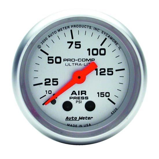 Auto meter 4320 ultra lite mech air pressure gauge 150 psi 2 116 publicscrutiny Image collections