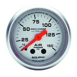 Auto Meter 4320 Ultra-Lite Mech Air Pressure Gauge, 150 PSI, 2-1/16